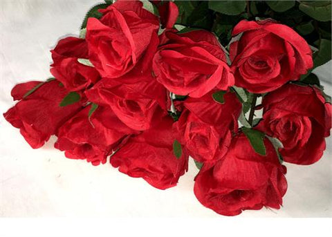 Artificial Silk Valentine Red Roses Single Stem Flowers (12 pieces)