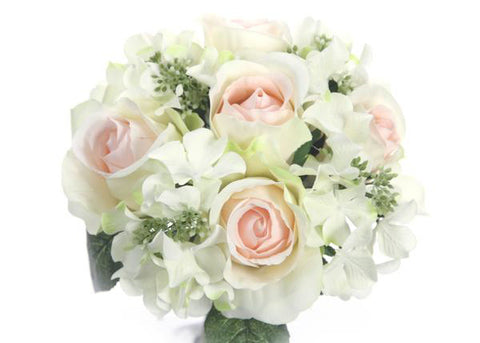 Rose & Hydrangea Silk Flower Wedding Bouquet Cream Blush