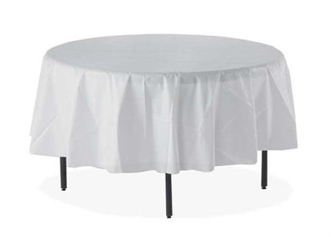 "84"" Round Plastic Table Cover White (1Piece)"