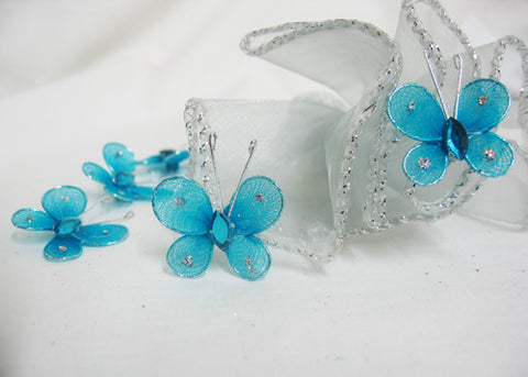 Miniature Rhinestone Organza Butterflies Turquoise (100 Pieces)