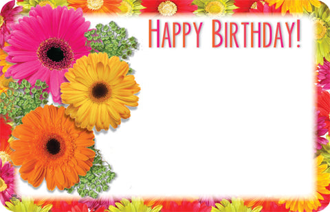 "3.5"" X 2.25"" Happy Birthday Whit Gerber Daisys Small Cards (50 Pieces)"