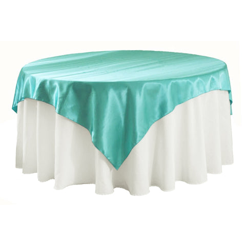 "Deep Tiffany blue Satin Table Overlay 72"" X 72"" Square(1 Piece)"