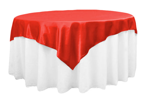 "Red Satin Table Overlay 72"" X 72"" Square(1 Piece)"
