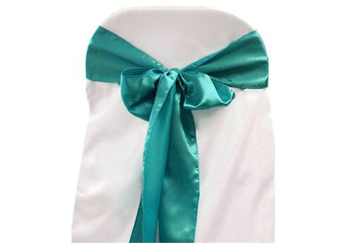 "6"" X 108"" Satin Chair Bow Turquoise(12 Pieces)"