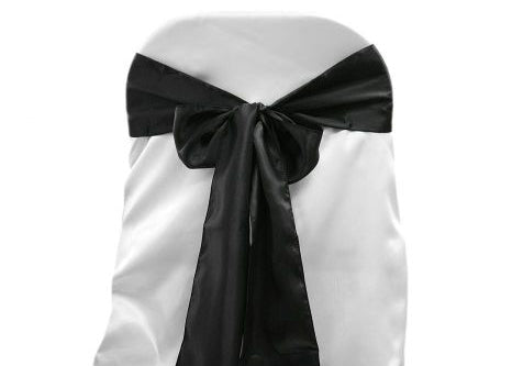 "6"" X 108"" Satin Chair Bow Black(12 Pieces)"