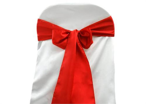 "6"" X 108"" Satin Chair Bow Red(12 Pieces)"