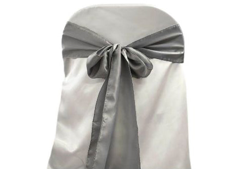 "6"" X 108"" Satin Chair Bow Silver(12 Pieces)"