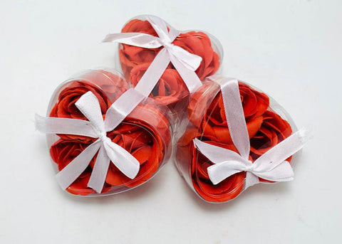 Scented Rose Petals Soap Favor Heart Shape Box Red