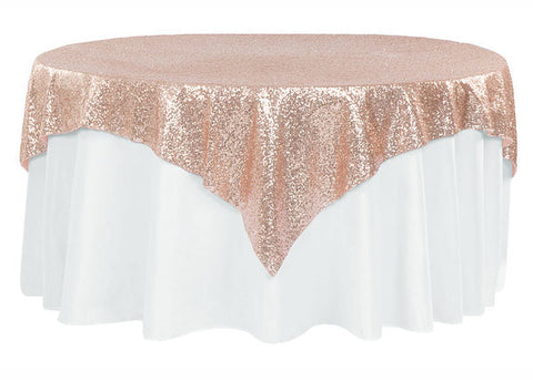 "Sequin Overlay 72"" X 72"" Square Rose Gold"