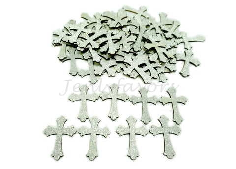 Silver Glitter Wood Cross (100 Pieces)