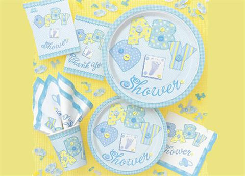"Stitching Blue Baby Shower Party Supply | Item| 9"" diameter Large Plate (8 Pieces)"