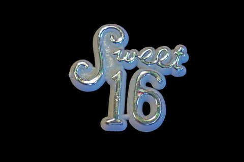 Sweet 16 Silver Plastic Charm Sign (144 Pcs)