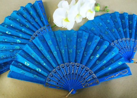 Turquoise Cloth Hand Fans with White Plastic Handle (10 pcs)