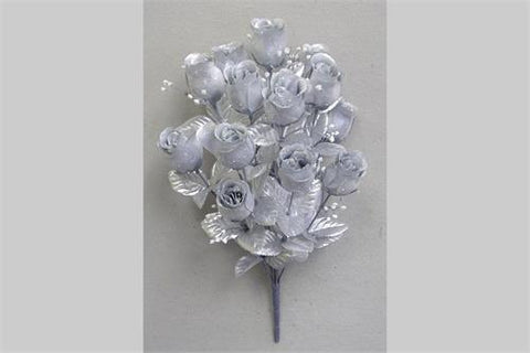 14 Heads Artificial Silver Rose Silk Flower Bush