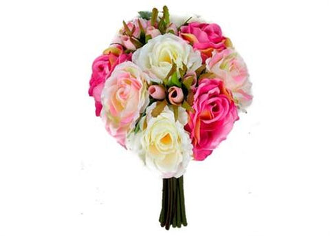 Rose Silk Flower Bouquet Pink and Cream