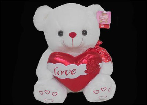 "15"" White Valentine singing Bear with Heart (6 pieces)"