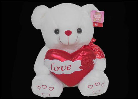 "15"" White Musical singing Bear with Heart (1 pcs)"