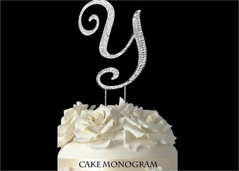 "4-1/2"" Large Letter Y Rhinestone Cake Topper Silver"