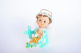 Praying Baby Angel with a Gold Cross and Feather Wings Blue (12 Pieces)