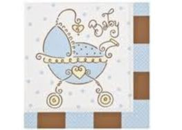 "13"" X 13"" Baby Joy Blue Baby Shower Napkin (16 Pieces)"