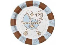 "9"" Baby Joy Blue Baby Shower Plate (8 Pieces)"