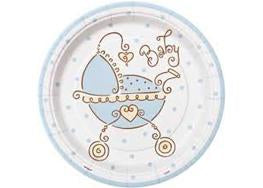"7"" Baby Joy Blue Baby Shower Plate (8 Pieces)"