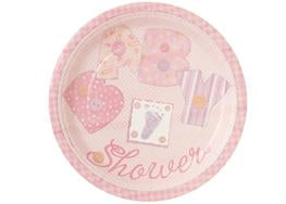 "9"" Stitching Pink Baby Shower Plate (8 Pieces)"