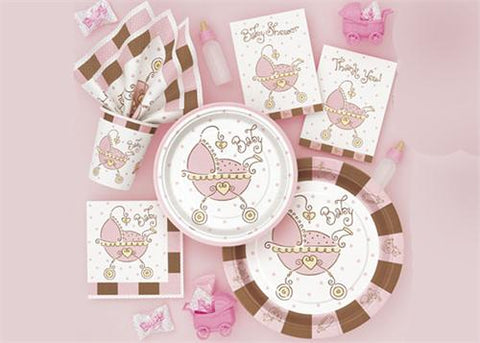 "Baby Joy Pink Party Supply| Item| 9"" diameter Large Plate (8 Pieces)"