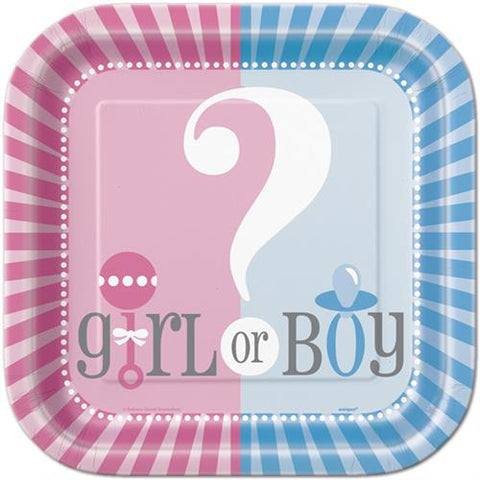 "9"" Girl or Boy Gender Reveal Baby Shower Party Paper Plates 8 Pieces"
