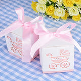 "2.3"" Cube Paper Favor Box with Pink Ribbon and Baby Stroller Pattern -12 Pieces"