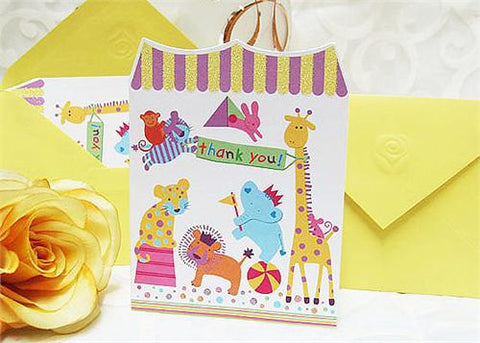Circus Animal Folded Thank You Cards (Set of10)