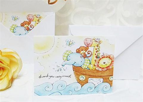 Animal Boat Baby Shower Folded Thank You Card (Set of 10)