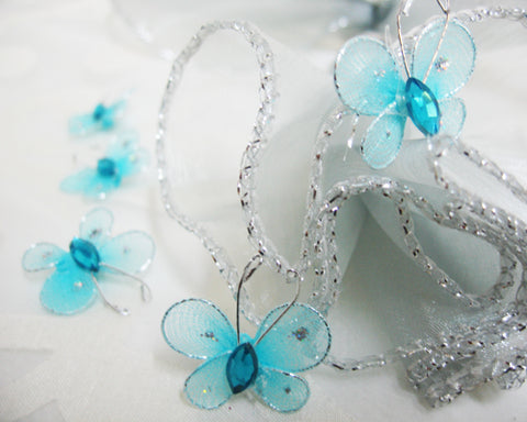 Miniature Rhinestone Organza Butterflies Blue (100 Pieces)