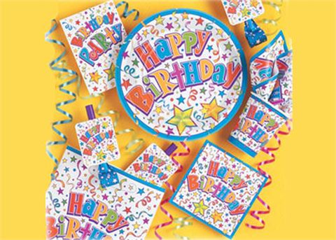 "Birthday Stars Party Supply | Item| 9"" diameter Large Plate (8 Pieces)"