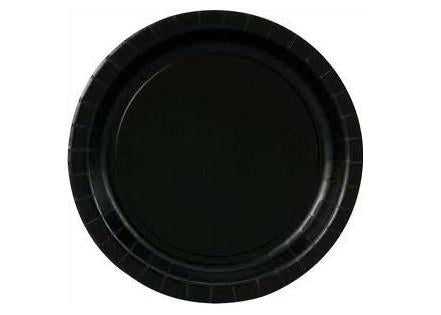 "7"" Midnight Black Paper Plates(20 Pieces)"
