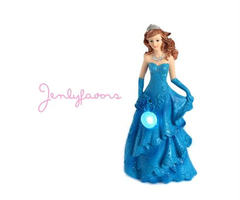Mis Quince Anos Turquoise Cake Topper Doll with LED Light-up (1 Piece)