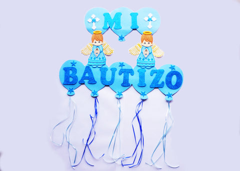 Blue Boy Mi Bautizo Baptism Foam Sign Banner - 1 piece