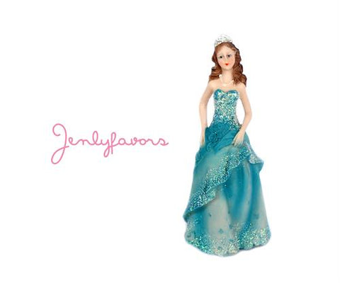 Mis Quince Anos and Sweet 16  6.5 inches Turquoise Cake Topper Doll (12 Pieces)
