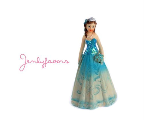 Mis Quince Anos and Sweet 16  4.5 inches Turquoise Cake Topper Doll (12 Pieces)