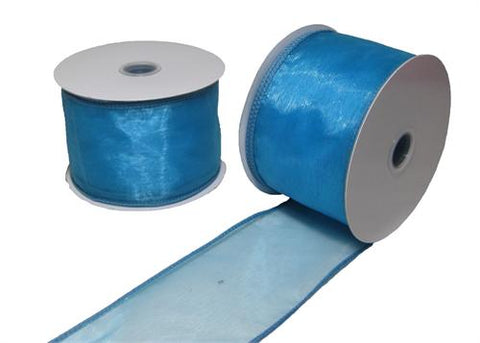 "2-1/2"" Organza Wired Ribbon Turquoise 10 Yards"