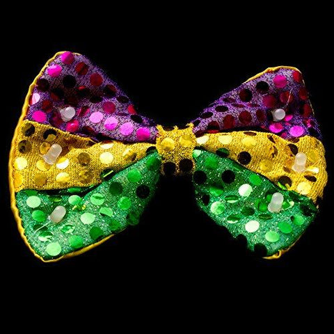 LED Light Up Mardi Gras Sequin Bow Tie (12 Pieces)