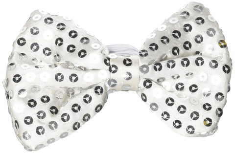 LED Light Up Silver Sequin Bow Tie (12 Pieces)