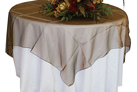 Brown Organza Table Overlay 80 X 80 Square(1 Piece)