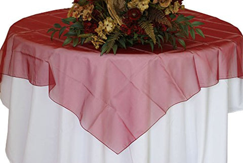 Burgundy Organza Table Overlay 80 X 80 Square(1 Piece)