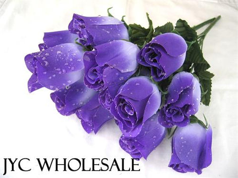 7 Heads Purple Artificial Closed Rose Bush (12 Bushes)