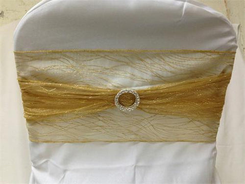9 x 10 Ft Glitter Organza Chair Bows/Sashes Gold  (12 pieces)
