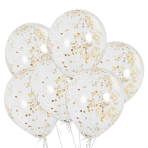 12 Inch Confetti Balloons Gold (6 Balloons)