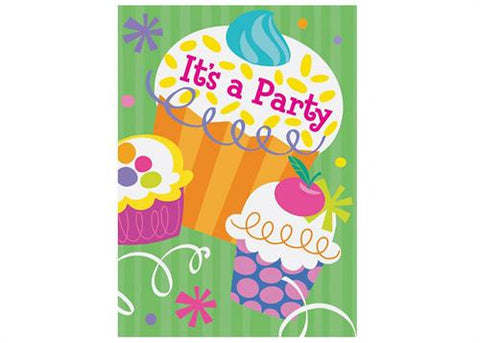 CUPCAKE Party Supply Invitation (Set of 8)