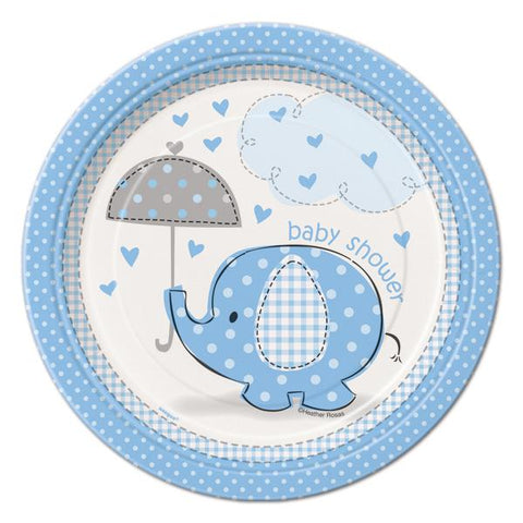 7'' Baby Shower Umbrella Elephant Plates Blue (8 Pieces)
