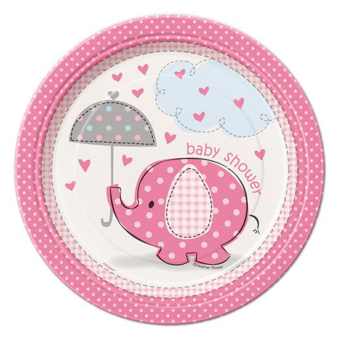 7'' Baby Shower Umbrella Elephant Plates Pink (8 Pieces)